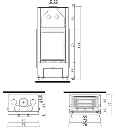 4 выхода для разводки горячего воздуха.  Опции: полукруглое стекло...